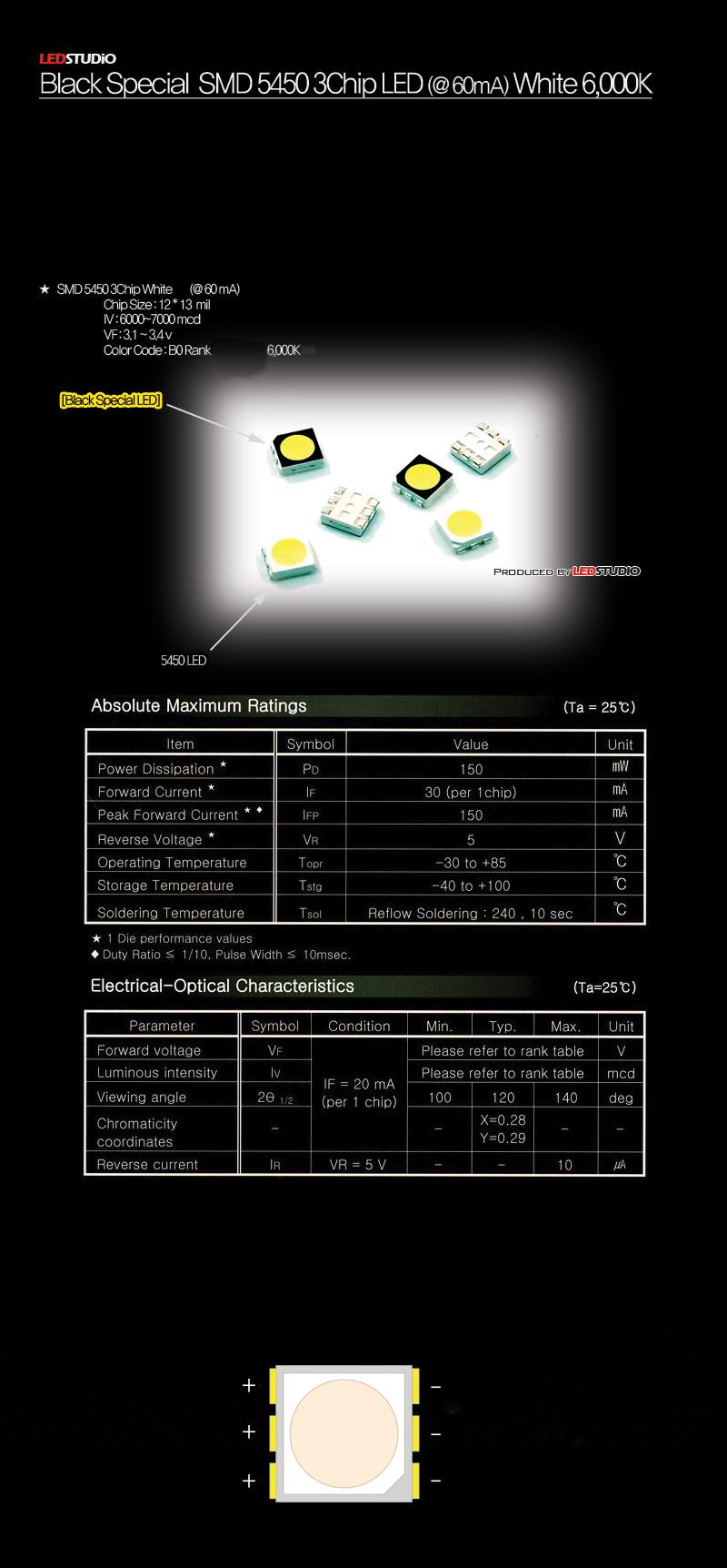 Светодиод 5450 3-чип БЕЛЫЙ 6000К (LEDSTUDIO) BLACK SPECIAL