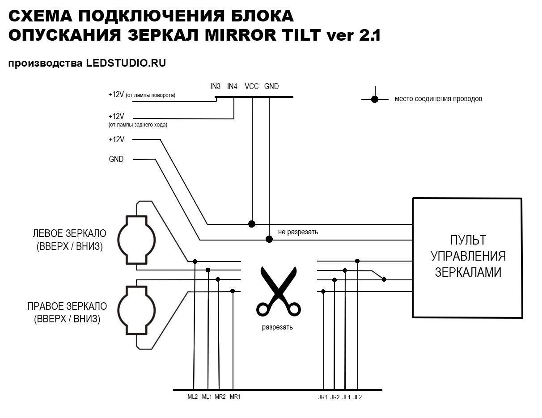 Схема подключения блока опускания зеркал при включении задней передачи на парковке.